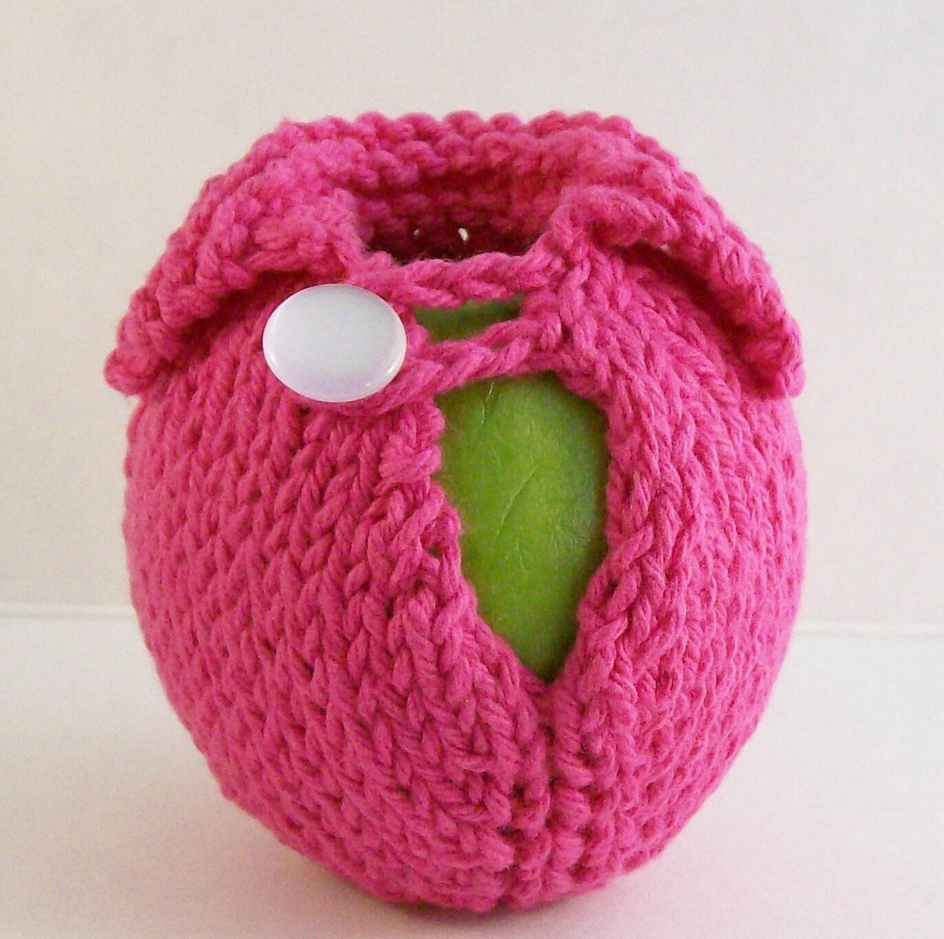 Apple Sweater - Handknit - Hot Hot Pink