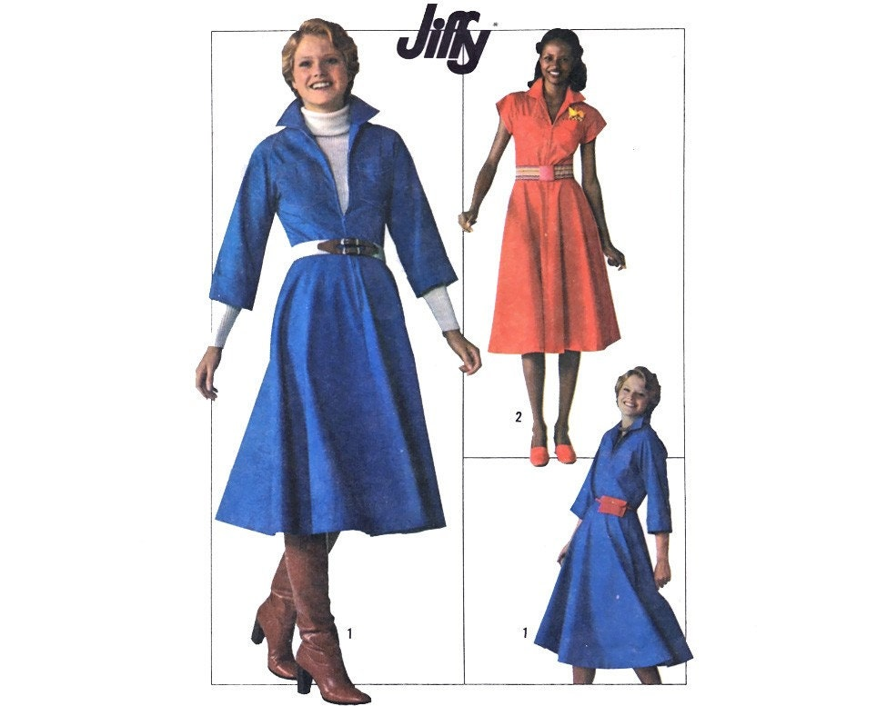 Vintage 70s Dress Sewing Pattern Zip Front by mysweetiepiepie from etsy.com