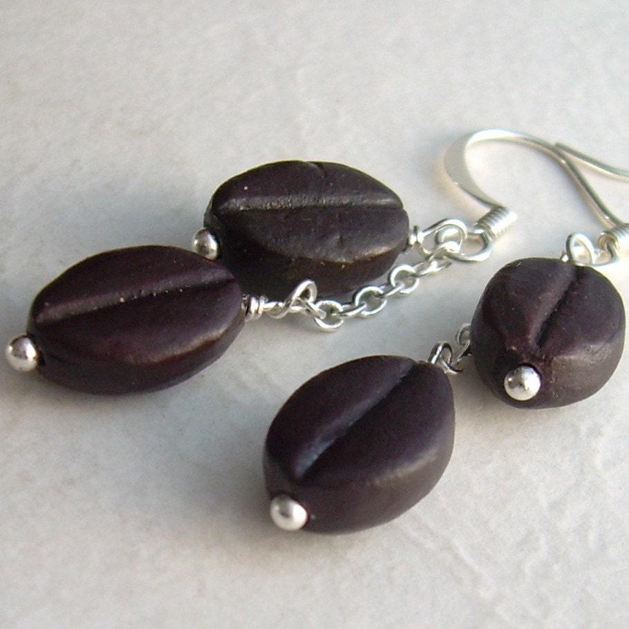 Coffee Bean Earrings, Espresso Brown Ceramic Beads