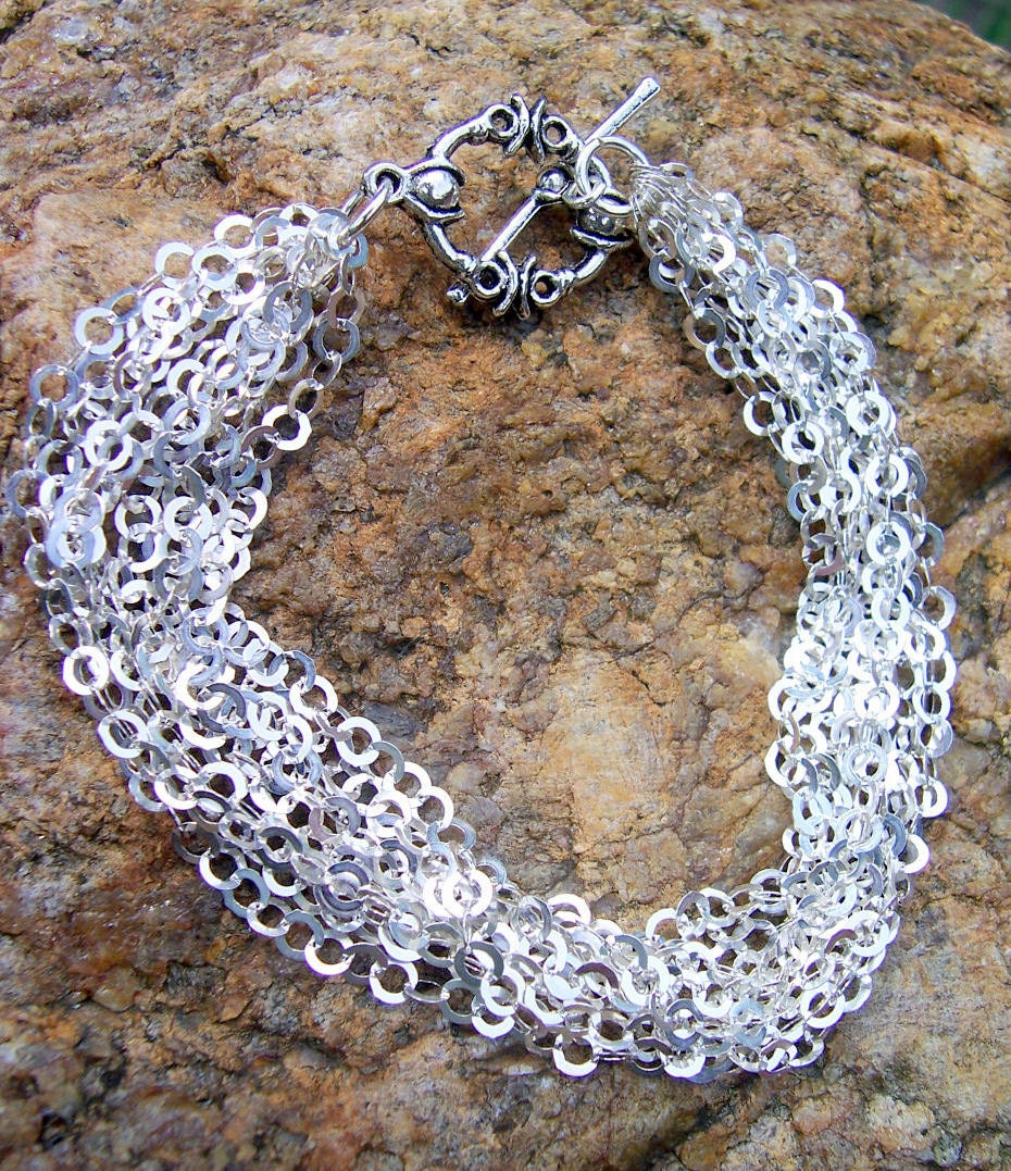 Sterling silver multi strand chain bracelet