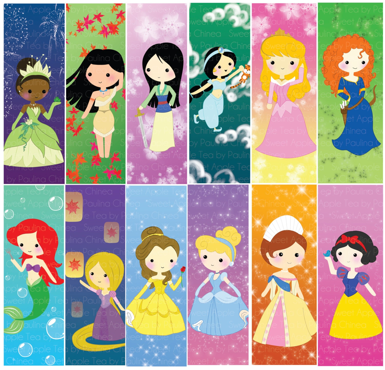 You Pick Sets of Princess Bookmarks by SweetAppleTea on Etsy