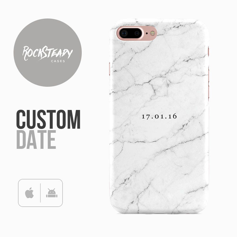 Personalised Date Marble Phone case Custom iPhone 7 6 6s Plus samsung S8 S7  5S SE phone Case personalized Galaxy S6 S5 gift UK