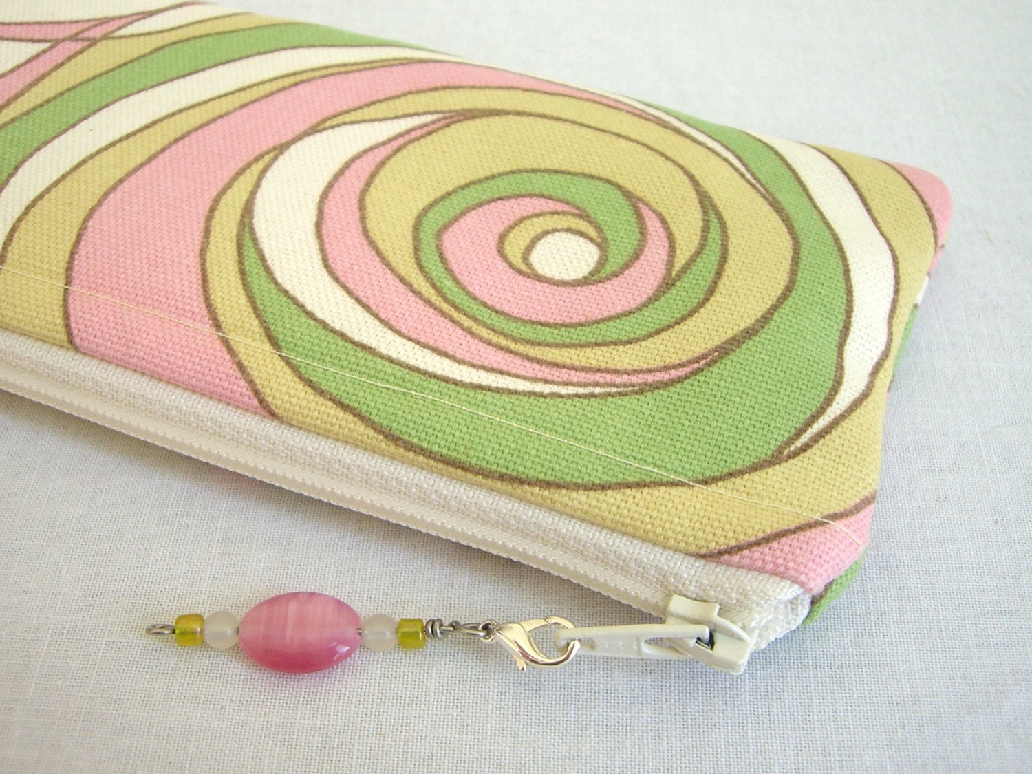 Swirling Pastel Zippered Bag with Beaded Zipper Pull