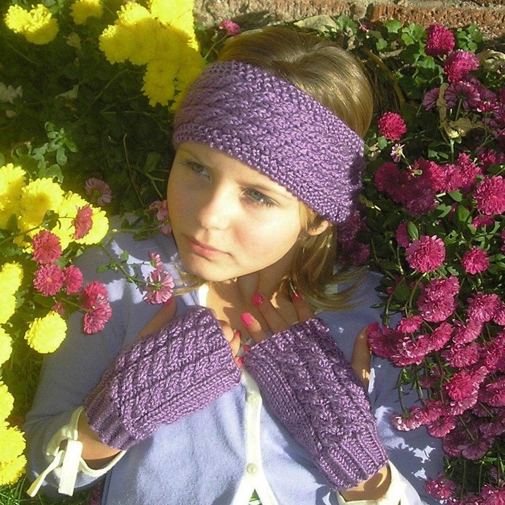 Purple Ear and Hand Warmer Set