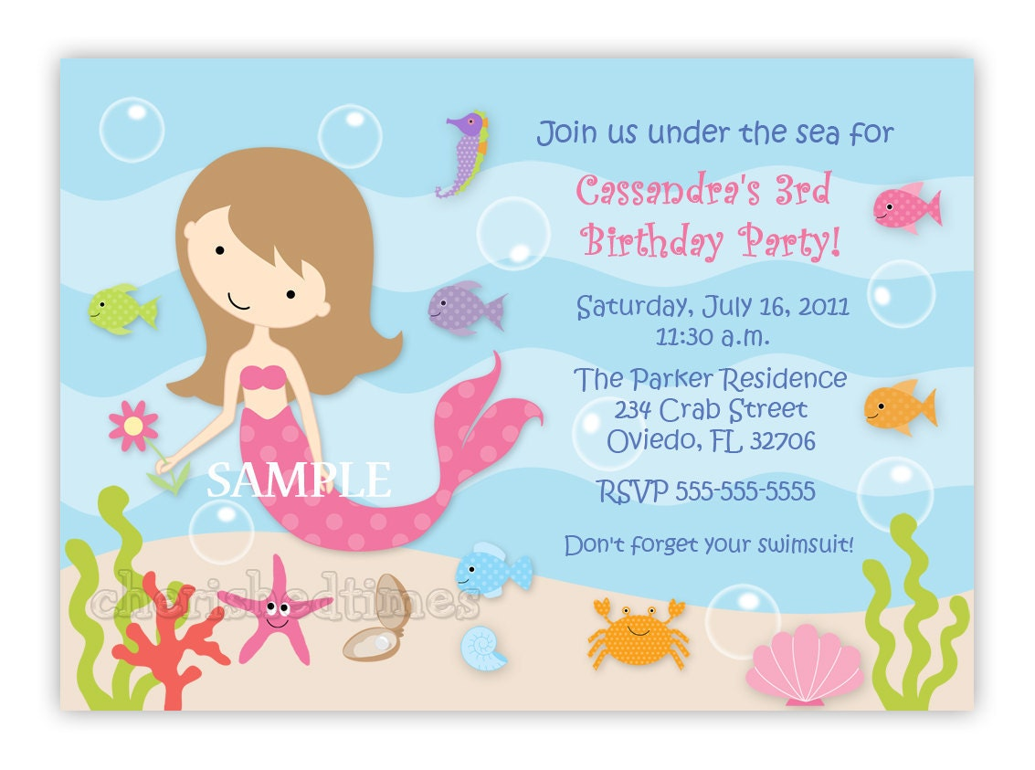 Mermaid Birthday Party Invitations could be nice ideas for your invitation template