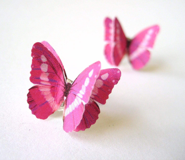 Hot Pink Earrings Butterfly Origami Earring Posts - SpotLightJewelry