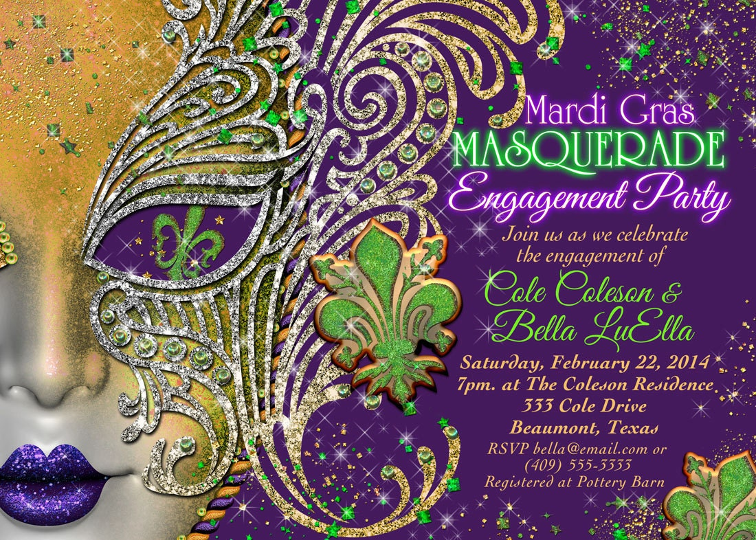 Mardi Gras Invitation with nice invitation sample