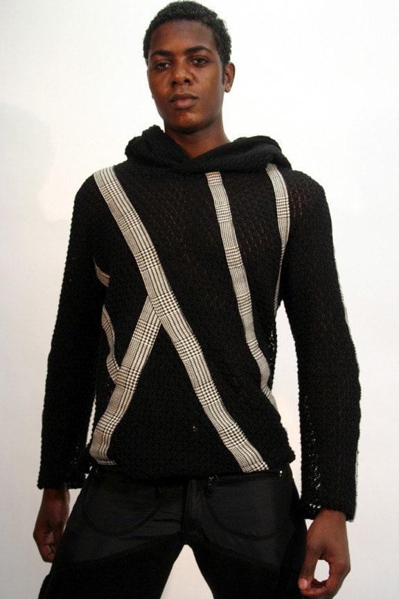 لباس مردانه ژاکت باشلق دار Crocheted با راه راه چاپ