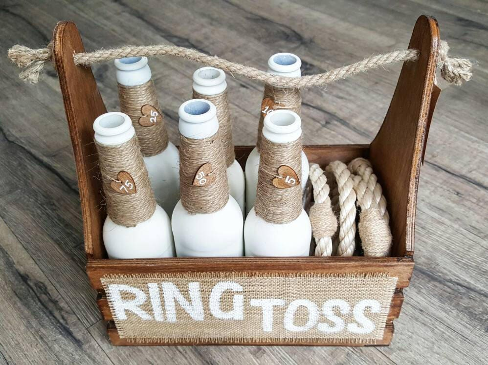 Ring Toss  White BottlesBrown Crate  Ring Toss Game  Wedding Game  Garden Game  Skittles Set  Vintage Game