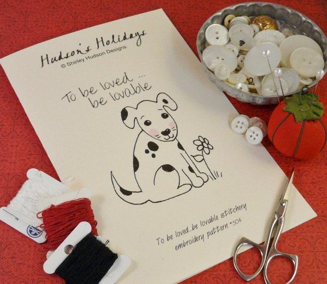 Dalmation puppy dog Stitchery E Pattern - embroidery 2012 Pdf love lovable flower prim primitive