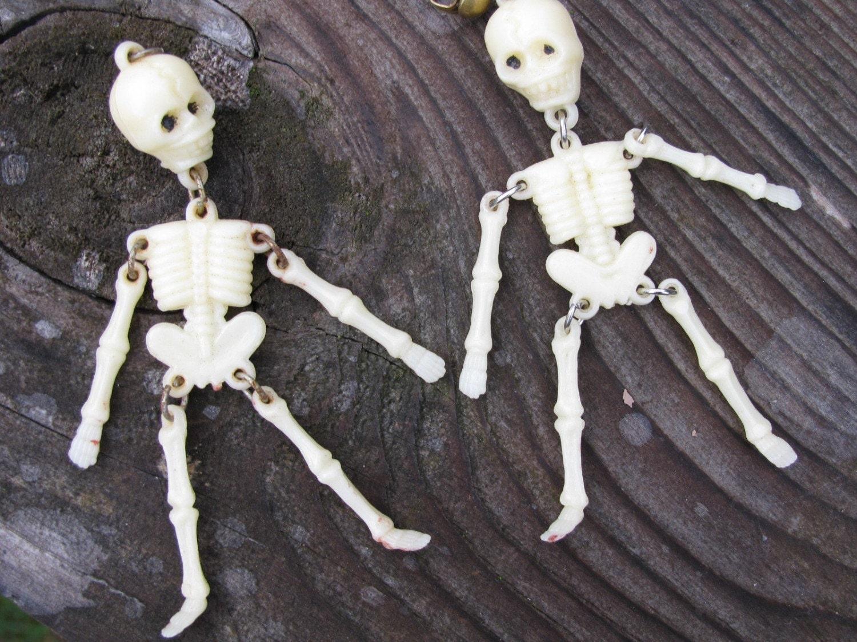 Vintage Celluloid Skeleton Charms