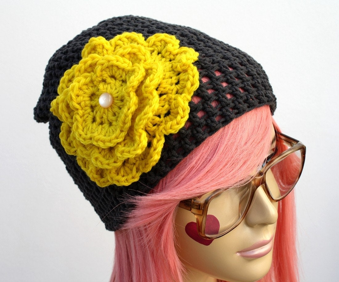COUTURE Beanie Hat - My Yellow Flower
