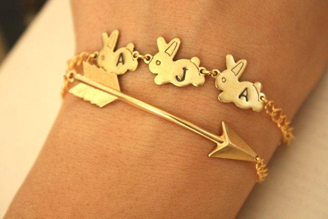 Gold Arrow and Bunnies Bracelets
