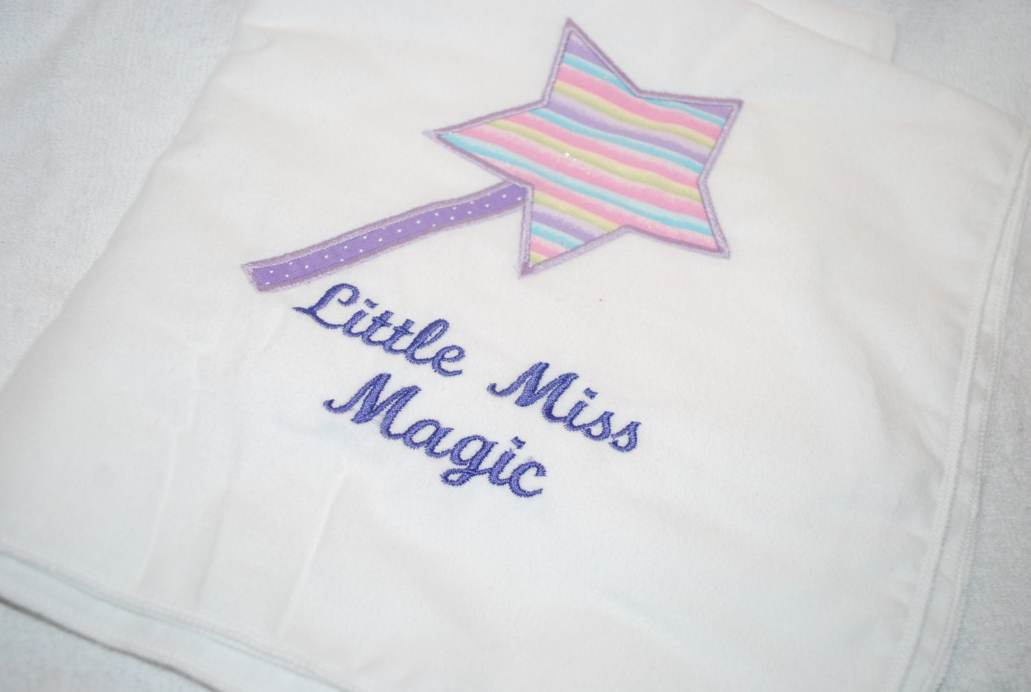 Little Miss Magic, Applique Swaddling/Receiving Blanket, Ready to Ship