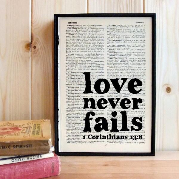 1 Corinthians 13 Wedding Reading: Wedding Bible Quote Love Never Fails On Vintage By BookishlyUK