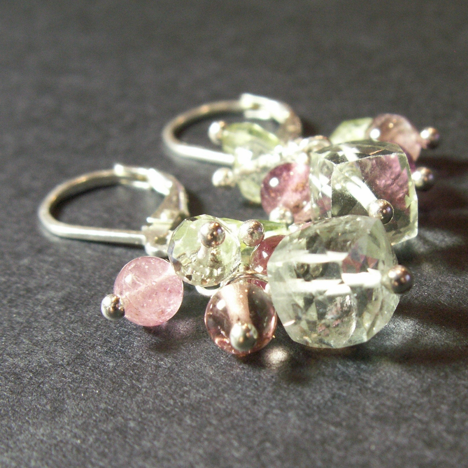 sterling silver earrings prasiolite green amethyst pink tourmaline