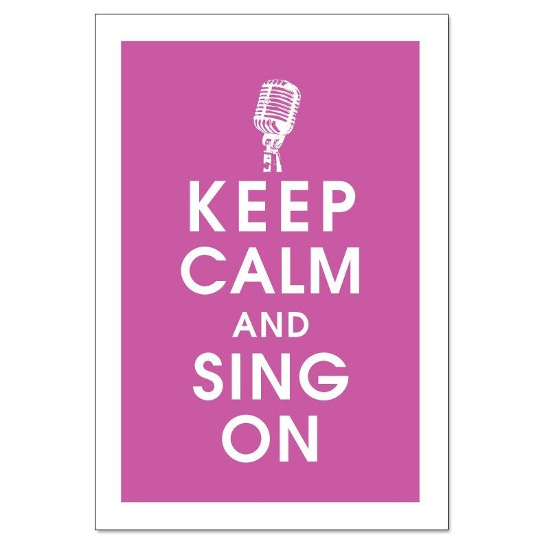 KEEP CALM AND SING ON,Vintage Microphone 13x19 Poster (Rasberry Rouge) Buy 3 and get 1 FREE