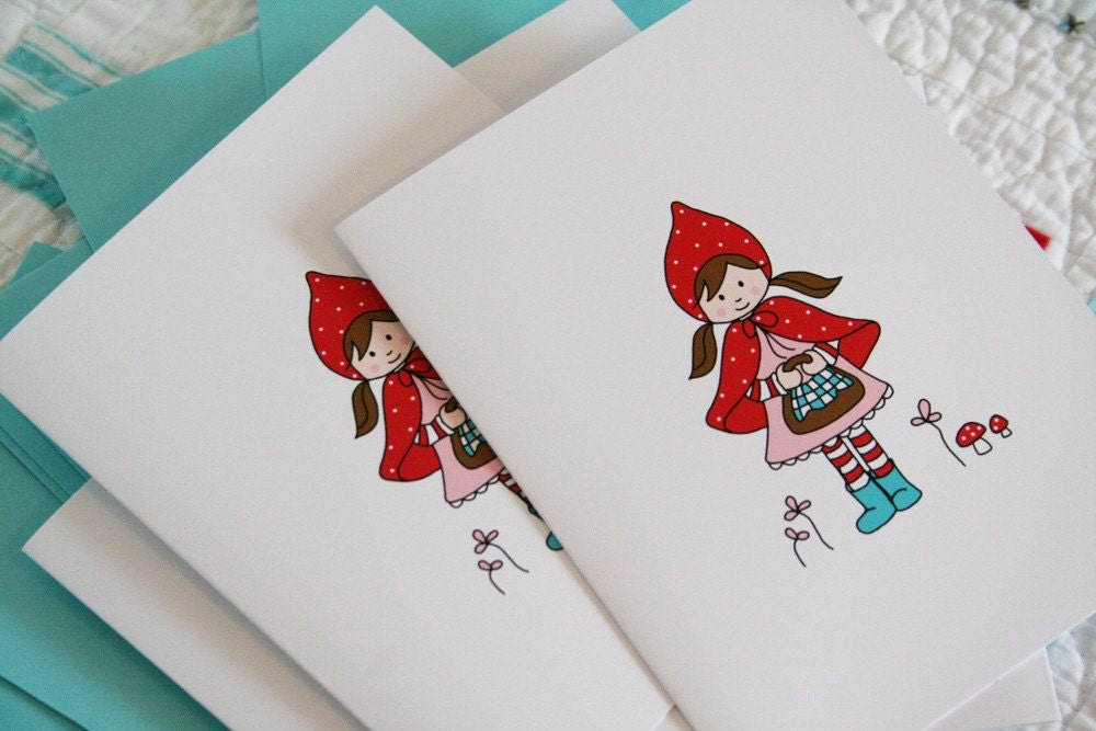 Little Red Riding Hood Notecards - Blank or Choose Text - Set of 8