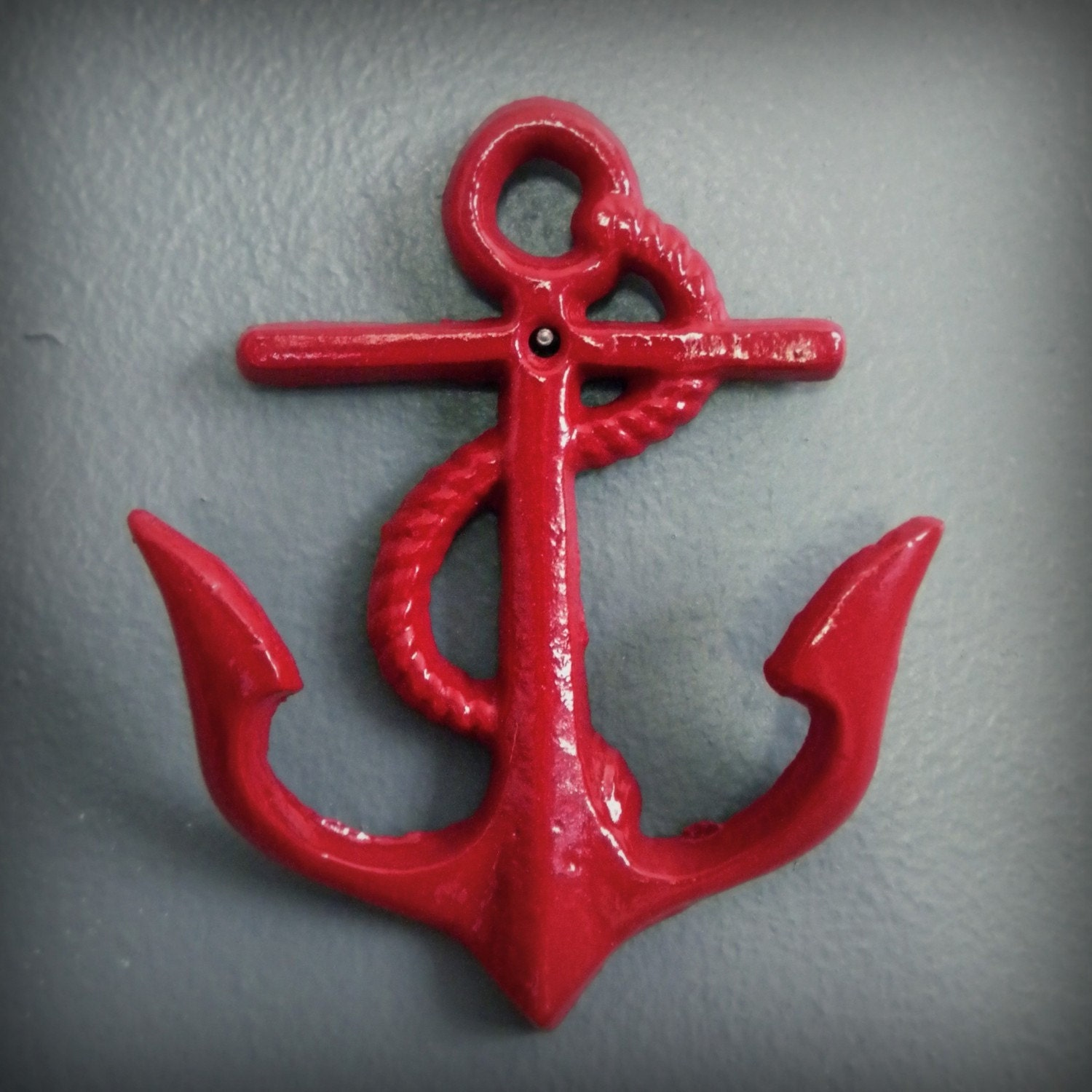 anchors away, cast iron wall hook, red