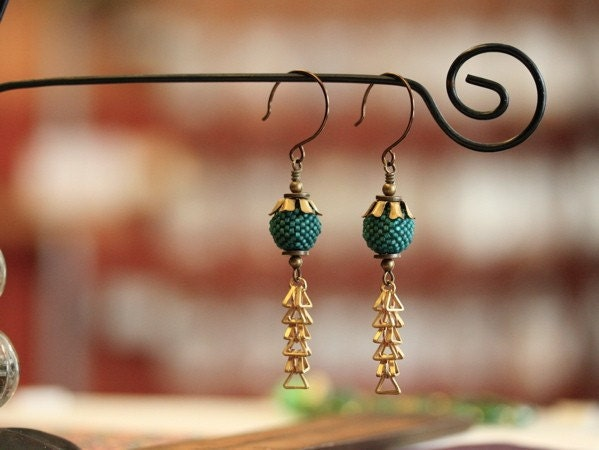 Beaded Bead and Brass Chain Earrings