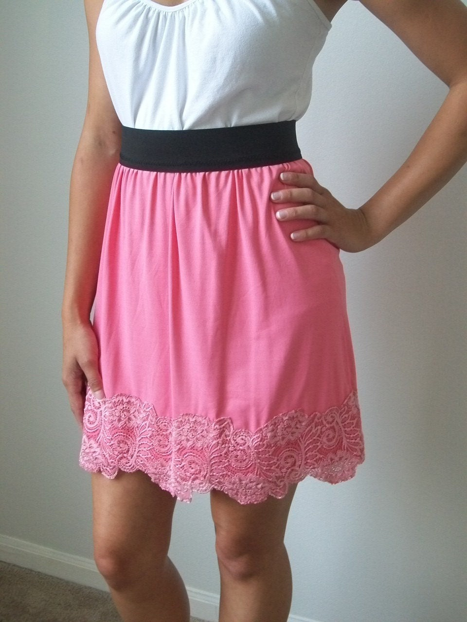 Sexy Pink Lace Gathered Skirt