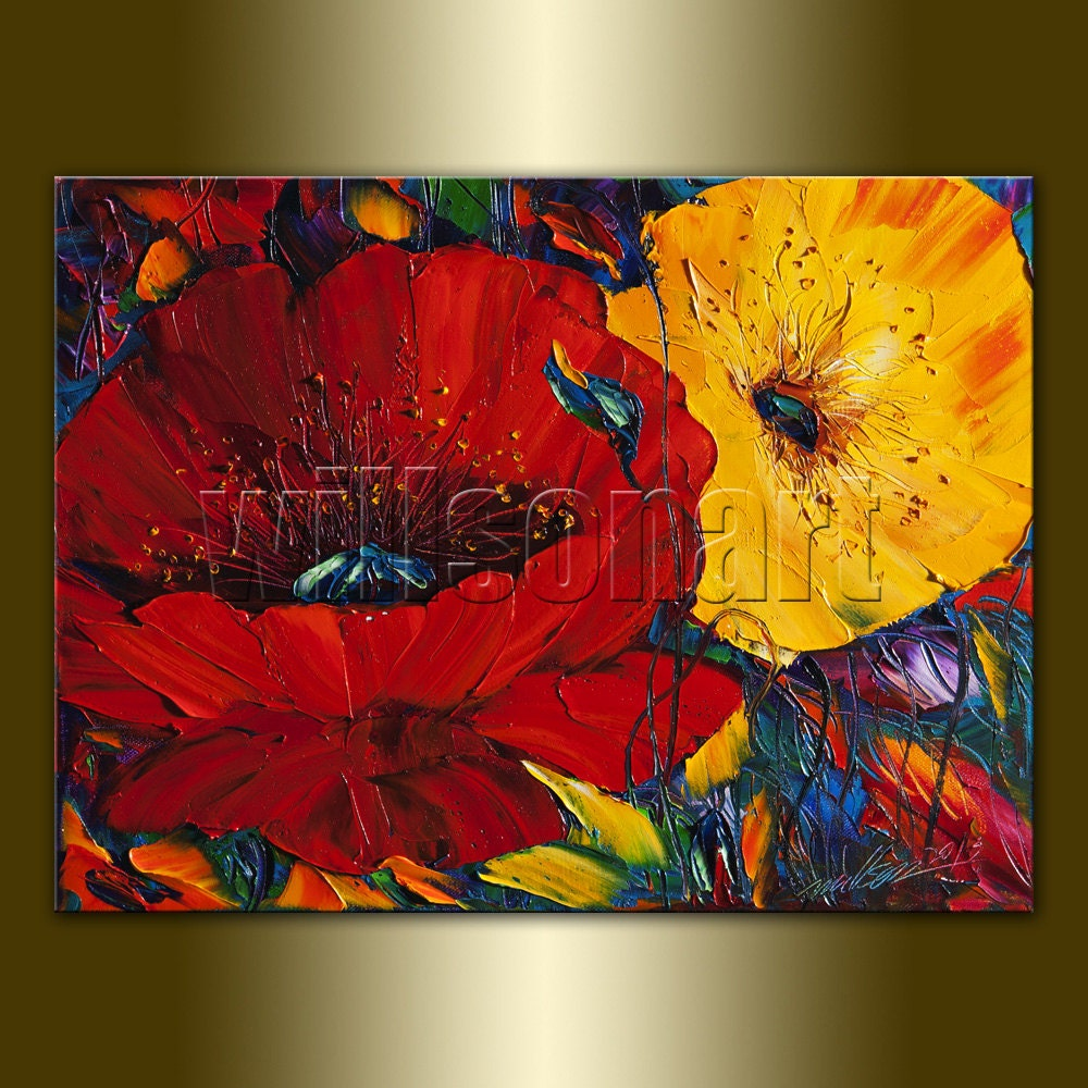 Modern Flower Oil Painting Red Poppies Floral Canvas by ...