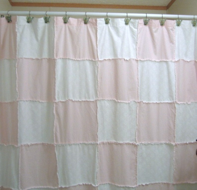 Shower curtain rag quilt style with coordinating curtain by fifthj