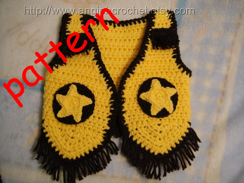 Free Crochet Pattern Cowboy Vest : Crochet Cowboy Vest PDF Pattern by angiehcrochet on Etsy