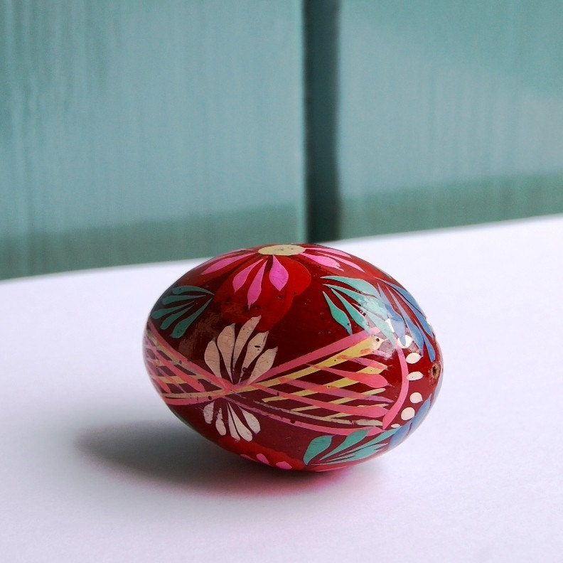 Hand painted easter wooden egg from ukraine soviet by - Painted wooden easter eggs ...