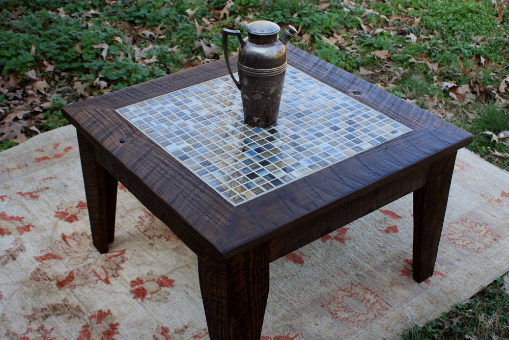 Small Coffee Table Tile Mosaic Reclaimed By
