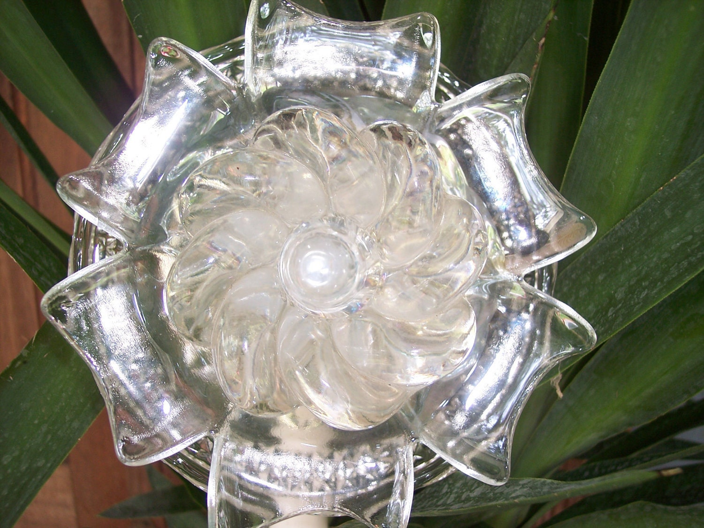 Recycled garden yard art glass flower by yourrepurposedhome - Recycled glass garden art ...