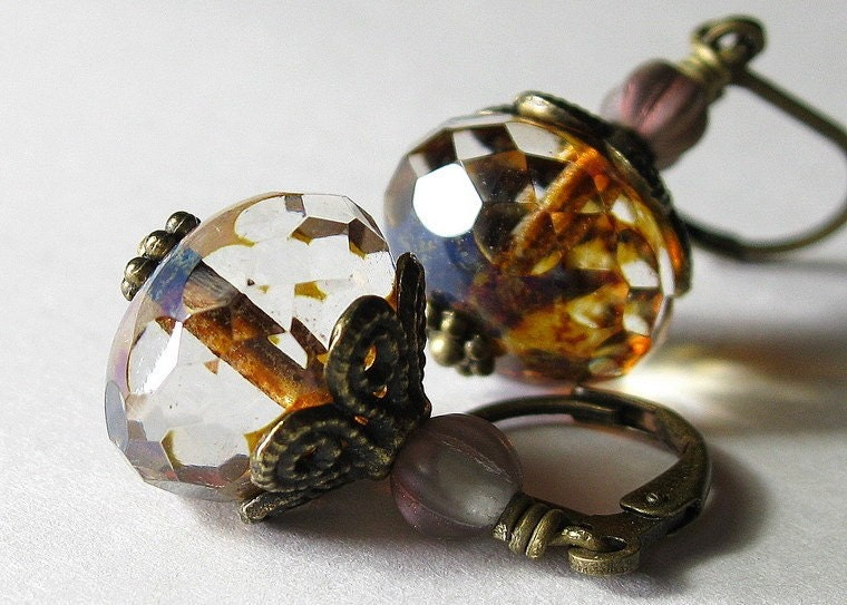 Crystal Czech Glass Antiqued Brass Vintage Style Earrings
