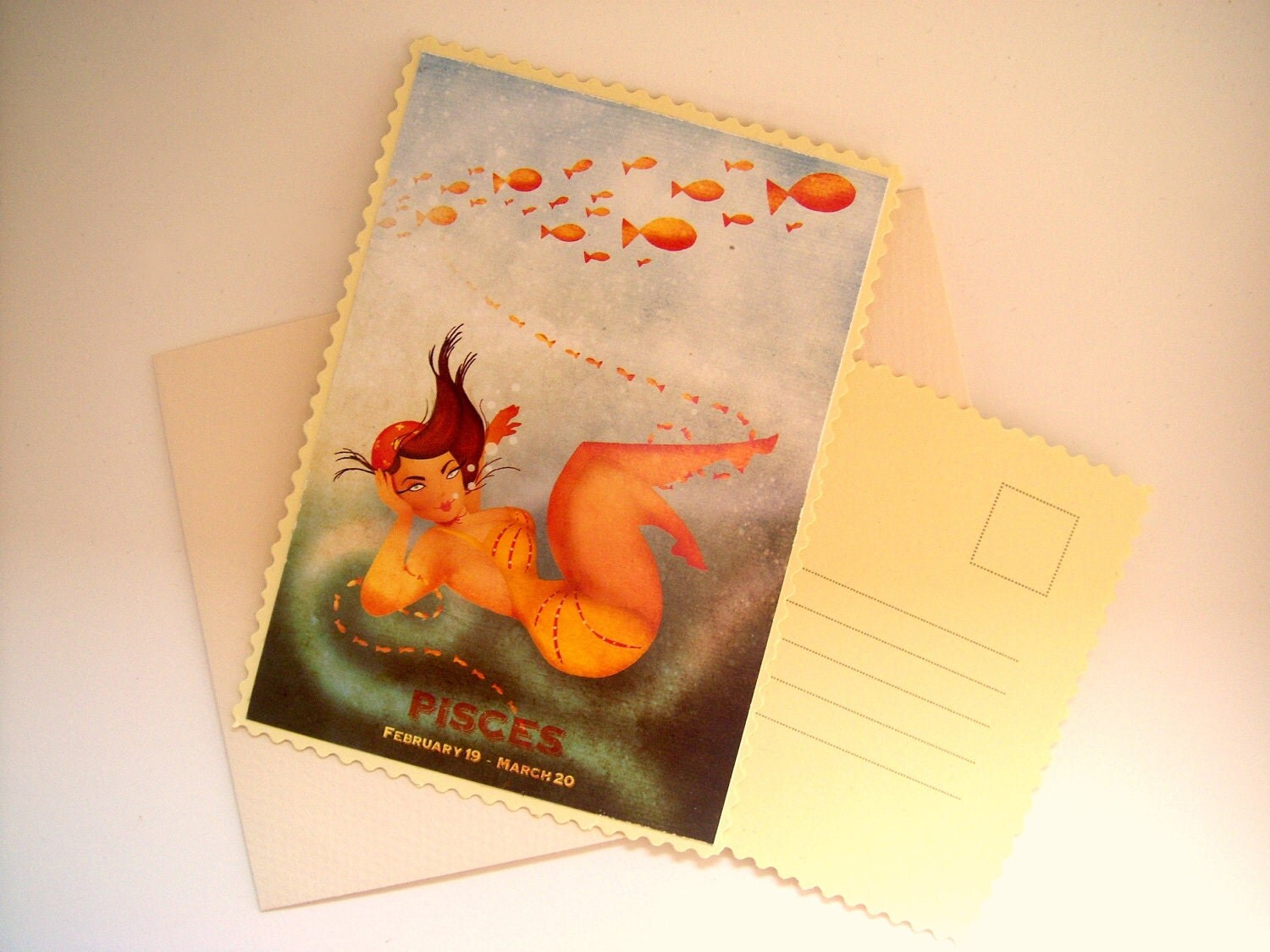 "Greeting Card - Pisces - zodiac series - swimming under water with fishes - off-white envelop included - 3.9"" x 5.6"""