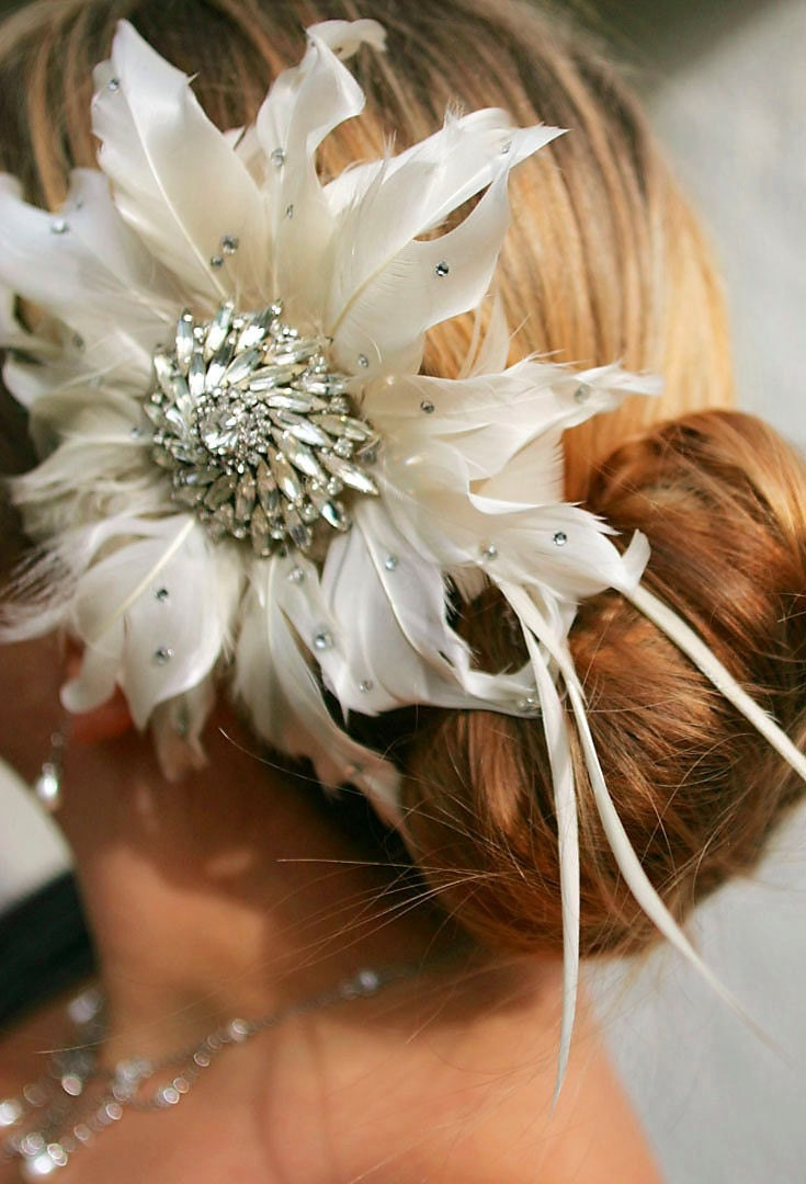 Bridal Feather Flower Vintage Rhinestone Hair Clip MADE TO ORDER