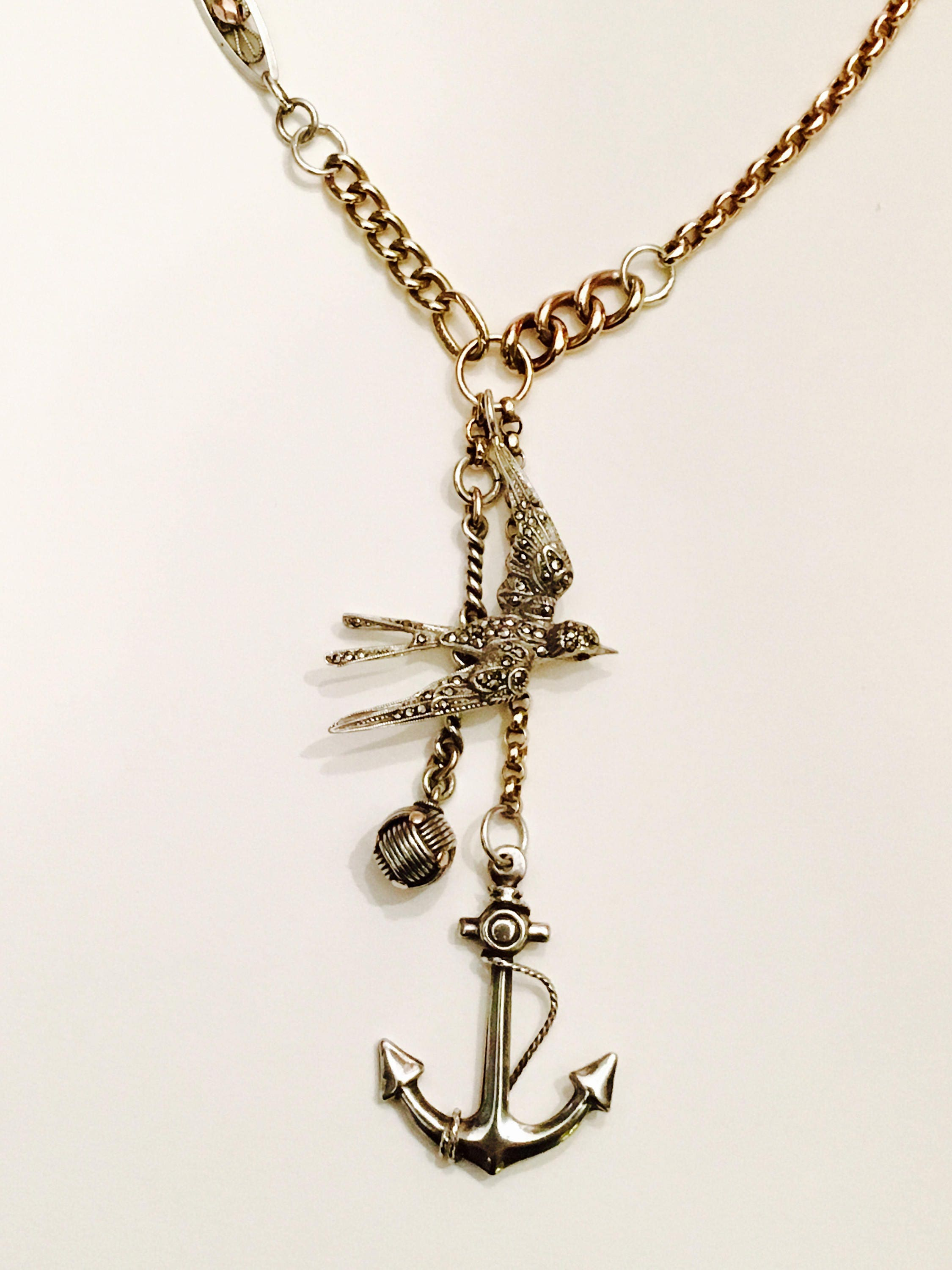 Vintage Silver and 9ct Gold Multi Chain Links Swallow Anchor Charm Necklace