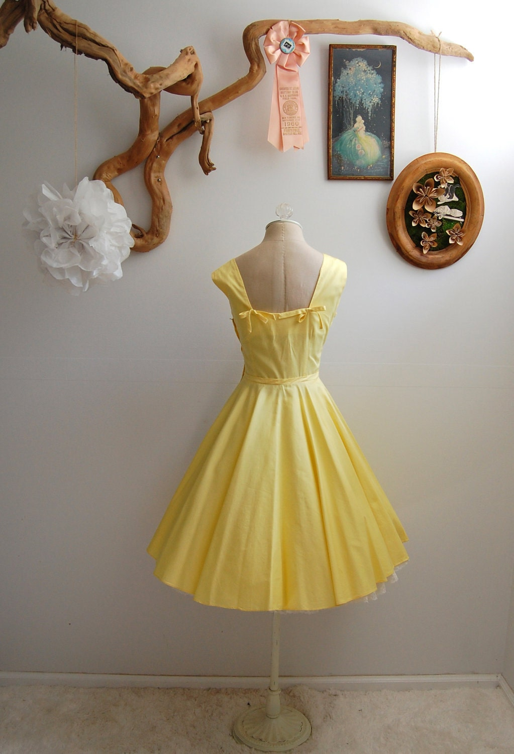 The Lucille- Vintage 1950s Yellow Cotton Full Skirt Dress