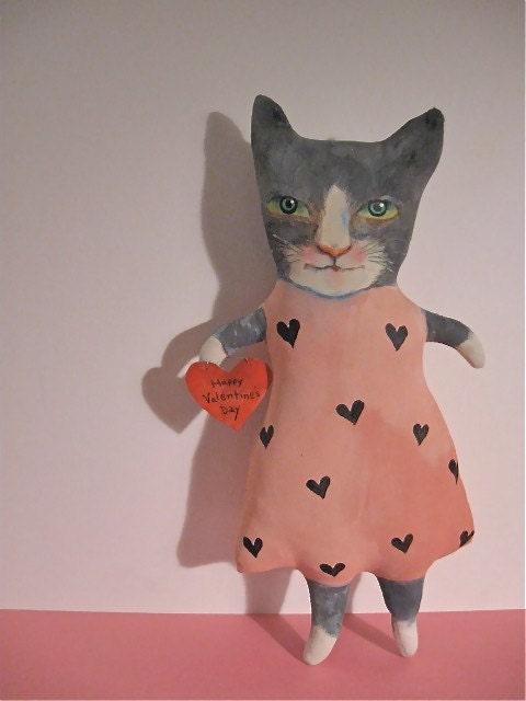 cat art doll , handmade, sewn , stuffed and hand painted , original fiber art , Happy Valentine's Day dark grey and white cat , red heart