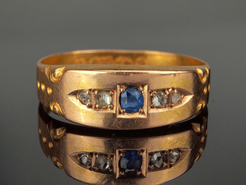 Antique Diamond Sapphire Ring 15k Ceylon Sapphire Diamond Ring
