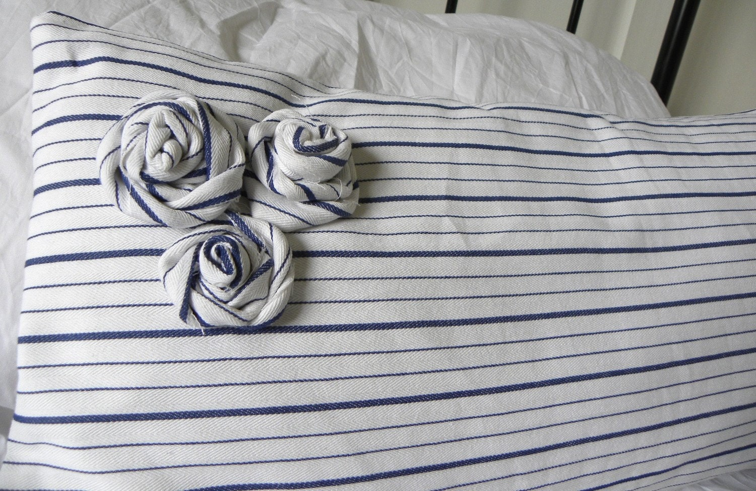 French ticking stripe blue and white rosette lumbar pillow