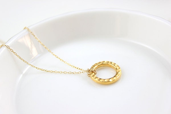Hammered Gold Circle Necklace - everyday basic karma ring 14 karat gold filled jewelry by petitor