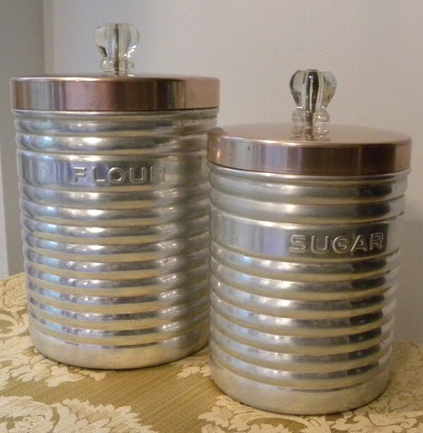 vintage aluminum and glass kitchen canister set by canister sets for kitchen counters
