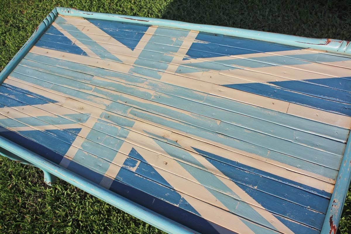 Blue Union Jack British Flag Coffee Table With By Gadgetsponge