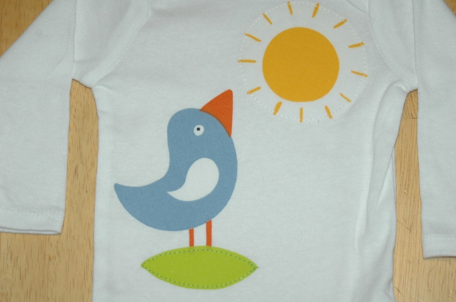Bird and Sun Applique Onesie