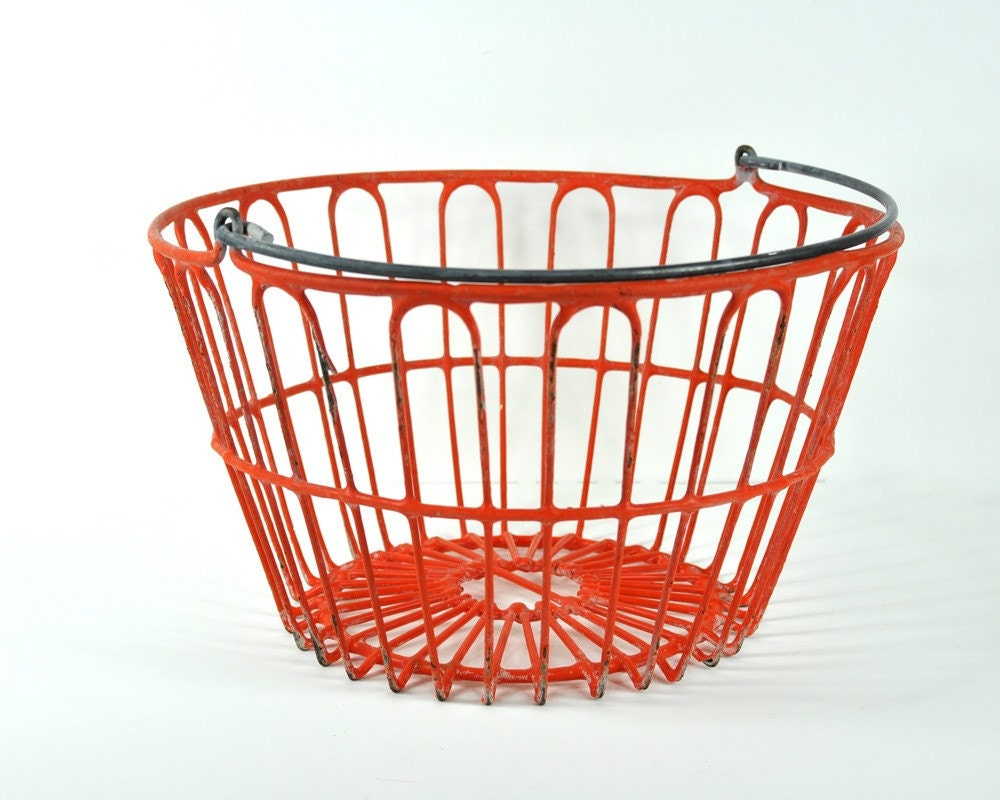 Vintage Large Orange Metal Basket with Handle