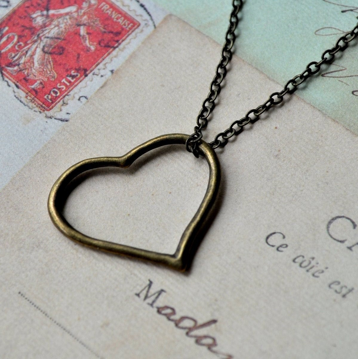 Heart Necklace - Brass heart on delicate brass chain - Valentines Love Sweetheart. By Vintette on Etsy.