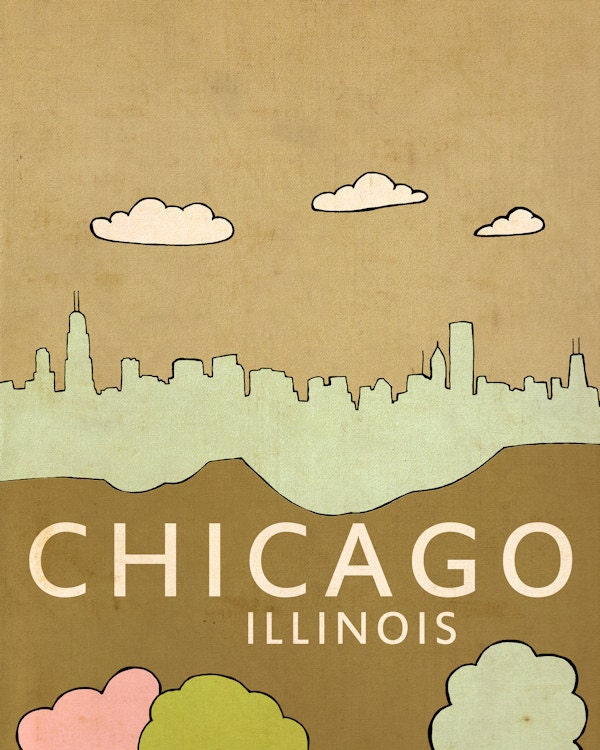 Wall art print kids room nursery art chicago by lisabarbero for Rooms 4 kids chicago