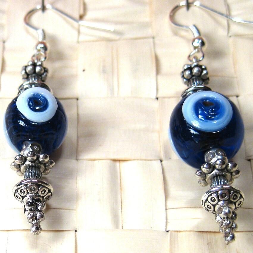 You & I Dark Blue Glass Earrings