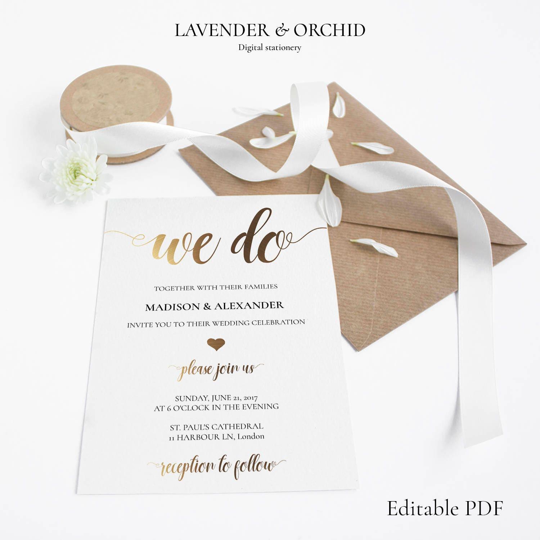 Wedding Invitation templates Gold we do Printable wedding invitations Instant download  Elegant invitations Beautiful design PDF