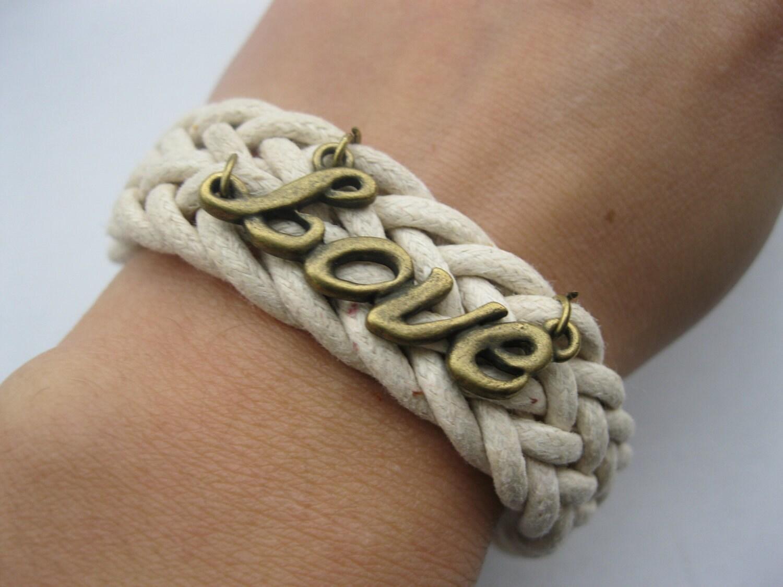 Bracelet-antique love wax cords bracelet,love bracelet