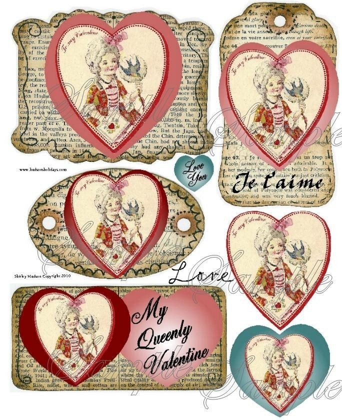 lil Marie Antoinette Valentine Collage Sheet altered girl scrapbooking label bottle digital TAG uprint primitive paper vintage heart
